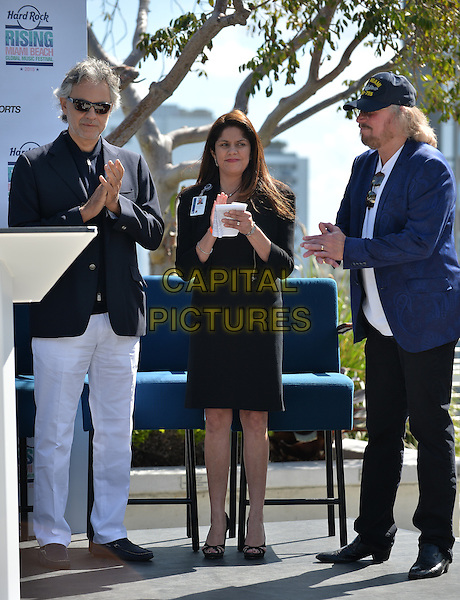 MIAMI BEACH, FL - FEBRUARY 16: Andrea Bocelli and Barry Gibb attends Miami Beach Announces Headline Performers for Mega Centennial Concert Celebration at New World Center on February 16, 2015 in Miami Beach, Florida. <br /> CAP/MPI/mpi10<br /> &copy;mpi10/MPI/Capital Pictures