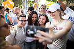 "© Licensed to London News Pictures . 03/06/2016 . Tel Aviv , Israel . MIRI REGEV (c) , Israeli Minister of Culture and Sport . Over 100,000 people attend the gay pride parade in Tel Aviv , reported to be the largest such event in the Middle East and Asia . The Israeli government has been accused of using the event as "" pinkwashing "" , marketing the event in order to deflect accusations of poor human rights behaviour . Photo credit: Joel Goodman/LNP"