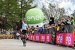 Chris Froome (GBR) Team Sky wins Stage 19 of the 2018 Giro d'Italia, running 185km from Venaria Reale to Bardonecchia featuring the Cima Coppi of this Giro, the highest climb on the Colle delle Finestre with its gravel roads, before finishing on the final climb of the Jafferau, Italy. 25th May 2018.<br /> Picture: LaPresse/Gian Mattia D'Alberto | Cyclefile<br /> <br /> <br /> All photos usage must carry mandatory copyright credit (&copy; Cyclefile | LaPresse/Gian Mattia D'Alberto)