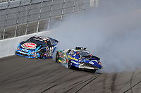 Feb. 28, 2009; Las Vegas, NV, USA; NASCAR Nationwide Series drivers Kevin Harvick (33) and Jeff Burton (29) crash during the Sam's Town 300 at Las Vegas Motor Speedway. Mandatory Credit: Mark J. Rebilas-