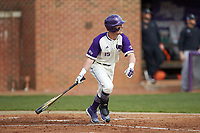 Joe Johnson (15) of the High Point Panthers follows through on his swing against the Campbell Camels at Williard Stadium on March 16, 2019 in  Winston-Salem, North Carolina. The Camels defeated the Panthers 13-8. (Brian Westerholt/Four Seam Images)