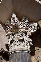 Detail of capital of the columns; The Military Barracks (Dar al-Yund); Caliph?s Palace of Madinat az-Zahra erected by Abd ar-Rahman III who imitated the Abbasid caliphs in Baghdad in building a royal city just outside the city of Cordoba itself; 936-945 AD, Madinat az-Zahra, Cordoba, Andalusia, Spain; The capital is of the Corinthian order and has two tiers of acanthus leaves. Picture by Manuel Cohen