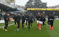Blackpool players warms up prior to kick off <br /> <br /> Photographer Ian Cook/CameraSport<br /> <br /> The EFL Sky Bet League One - Bristol Rovers v Blackpool - Saturday 15th February 2020 - Memorial Stadium - Bristol<br /> <br /> World Copyright © 2020 CameraSport. All rights reserved. 43 Linden Ave. Countesthorpe. Leicester. England. LE8 5PG - Tel: +44 (0) 116 277 4147 - admin@camerasport.com - www.camerasport.com