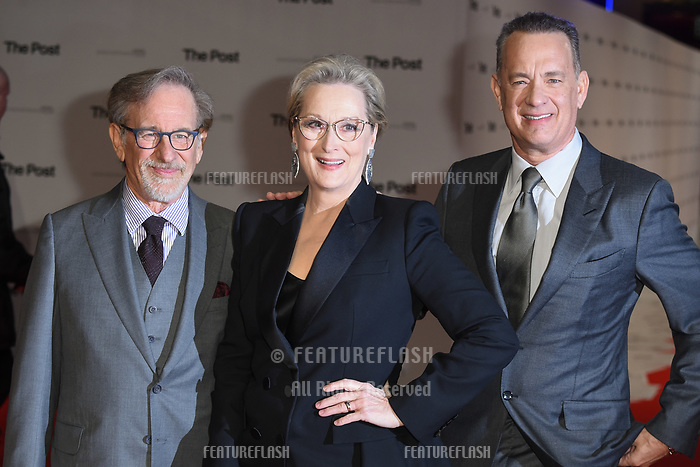 Steven Spielberg, Meryl Streep &amp; Tom Hanks at the European premiere of &quot;The Post&quot; at the Odeon Leicester Square, London, UK. <br /> 10 January  2018<br /> Picture: Steve Vas/Featureflash/SilverHub 0208 004 5359 sales@silverhubmedia.com