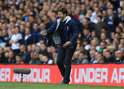 April 30th 2017, White Hart Lane, Tottenham, London England; EPL Premier League football Tottenham Hotspur versus Arsenal; Tottenham Hotspur Manager Mauricio Pochettino screaming at this players from the touchline as Spurs seek to win the North London derby