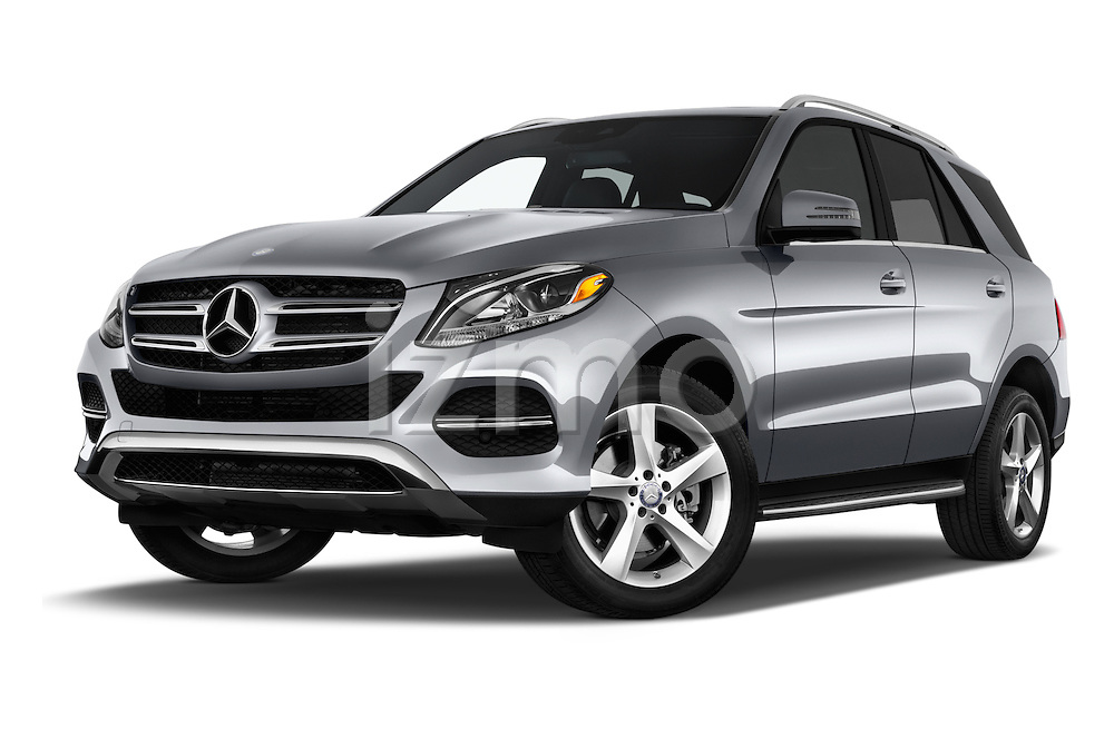 Stock pictures of low aggressive front three quarter view of 2017 Mercedes Benz GLE-Class GLE300d 5 Door SUV Low Aggressive