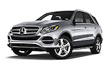 Stock pictures of low aggressive front three quarter view of 2016 Mercedes Benz GLE-Class GLE300d 5 Door SUV Low Aggressive