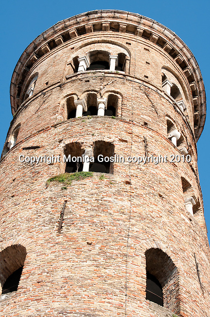 Brick tower in Ravenna, Italy..Brick tower next to the Cathedral of Ravenna.