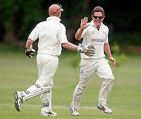 C Gourlay celebrates after K Makwana is run out during the Middlesex County Cricket League Division Three game between Highgate and Hornsey at Park Road, Crouch End, London on Sat June 5, 2010