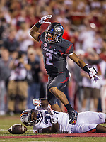 Hawgs Illustrated/BEN GOFF <br /> Chase Hayden, Arkansas running back, celebrates after a catch for 23 yards in the first quarter Saturday, Oct. 21, 2017, at Reynolds Razorbacks Stadium in Fayetteville.