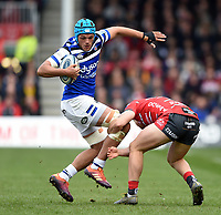 Zach Mercer of Bath Rugby is tackled. Gallagher Premiership match, between Gloucester Rugby and Bath Rugby on April 13, 2019 at Kingsholm Stadium in Gloucester, England. Photo by: Patrick Khachfe / Onside Images