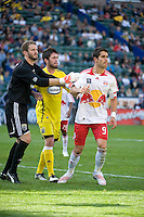 William Hesmer, Danny O'Rourke and Juan Pablo Angel prepare for a corner kick during MLS Cup 2008. Columbus Crew defeated the New York Red Bulls, 3-1, Sunday, November 23, 2008. Photo by John Todd/isiphotos.com