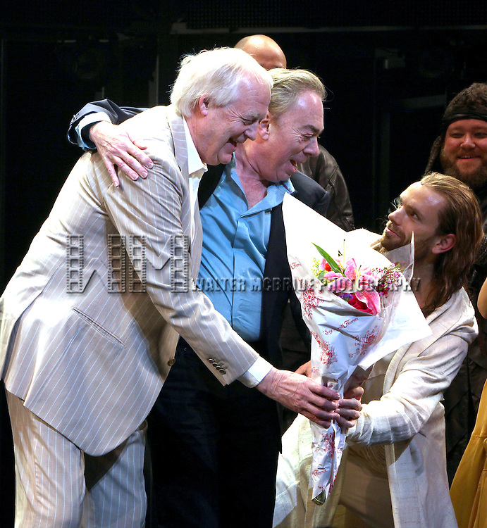 Andrew Lloyd Webber & Tim Rice with Paul Nolan.during the Opening Night Performance Curtain Call for 'Jesus Christ Superstar' at the Neil Simon Theatre in New York City on March 22, 2012.