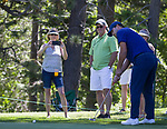 Tony Romo putts during the ACC Golf Tournament at Edgewood Tahoe Golf Course in South Lake Tahoe on Sunday, July 14, 2019.