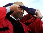 (Boston Ma 051814) Governor Deval Patrick prior to speaking at the Boston University Graduation, Sunday, May 18, 2014, in Boston. (Jim Michaud Photo) For Monday