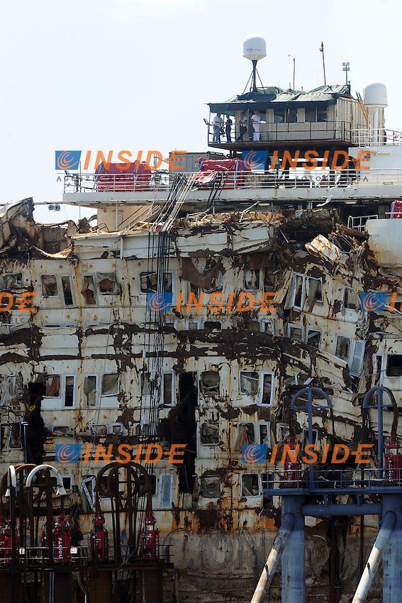Genova 27/07/2014 <br /> arrivo relitto Costa Concordia al porto di Genova <br /> The refloated wreck of the Costa Concordia cruise liner is towed to the Italian port of Genoa on July 27, 2014 <br /> foto Andrea Ninni/Image/Insidefoto