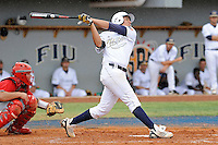 16 May 2010:  FIU's Rudy Flores (34) bats in the fourth inning as the FIU Golden Panthers defeated the University of South Alabama Jaguars, 5-0, at University Park Stadium in Miami, Florida.