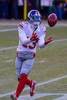 New York Giants wide receiver Odell Beckham Jr (13) prior to a game against the Green Bay Packers on January 8th, 2017 at Lambeau Field in Green Bay, Wisconsin.  Green Bay defeated New York 38-13. (Brad Krause/Krause Sports Photography)