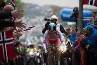 Vasil Kiryienka (BLR/SKY) up Mount Fløyen<br /> <br /> Men Elite Individual Time Trial<br /> <br /> UCI 2017 Road World Championships - Bergen/Norway