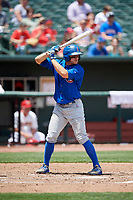 Iowa Cubs center fielder John Andreoli (7) at bat during a game against the Memphis Redbirds on May 29, 2017 at AutoZone Park in Memphis, Tennessee.  Memphis defeated Iowa 6-5.  (Mike Janes/Four Seam Images)