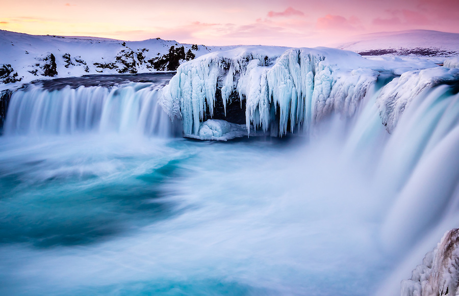 ICELAND - CIRCA MARCH 2015: Godafoss waterfall in winter. Also known as waterfall of the gods, is one of the most spectacular waterfalls in Iceland.