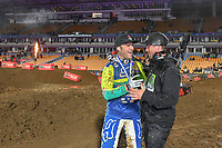 Chad Reed with Ryan Sanderson<br /> 2018 SX Open - Auckland / SX 1<br /> FIM Oceania Supercross Championships<br /> Mt Smart Stadium / Auckland NZ<br /> Saturday Nov 24th 2018<br /> © Sport the library/ Jeff Crow / AME