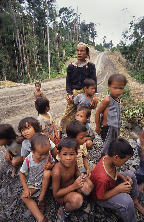 1991: Kenyah native people. Lun wearing traditional brass earrings with many children, at a blockade protest site across a logging road. In 1991/2, the Long Geng and Long Lewan communities made a continuous human blockade for two years, rotating people every two weeks, blocking logging in their traditional lands. Belaga district, Sarawak, Borneo<br />