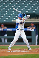 Griffin Conine (9) of the Duke Blue Devils at bat against the Virginia Cavaliers in Game Seven of the 2017 ACC Baseball Championship at Louisville Slugger Field on May 25, 2017 in Louisville, Kentucky. The Blue Devils defeated the Cavaliers 4-3. (Brian Westerholt/Four Seam Images)
