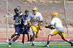 San Diego, CA 05/25/13 - Antonio Mendez (Parker #3),Andrew Dickinson (Del Norte #23) and David LeBaron (Parker #21) in action during the CIF San Diego Section Boys Division 2 Lacrosse Championship game.  Parker defeated Del Norte 12-4 for the 2013 title.