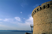 Genoese Tower with view of the sea, Campomoro, Corsica, France.