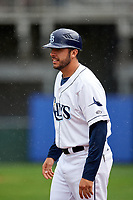 Princeton Rays coach Rafael Valenzuela (21) during the second game of a doubleheader against the Greeneville Reds on July 25, 2018 at Hunnicutt Field in Princeton, West Virginia.  Greeneville defeated Princeton 8-7.  (Mike Janes/Four Seam Images)