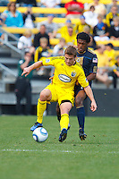 24 OCTOBER 2010:  Columbus Crew midfielder/forward Robbie Rogers (18) and Philadelphia Union defender Sheanon Williams (25) during MLS soccer game at Crew Stadium in Columbus, Ohio on August 28, 2010.