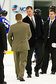 Ryan Soderquist (Bentley - Head Coach), Kurt Kleinendorst (UAH - Head Coach) - The Bentley University Falcons defeated the visiting University of Alabama-Huntsville Chargers 9-1 on Friday, October 26, 2012, at the John A. Ryan Skating Center in Watertown, Massachusetts.