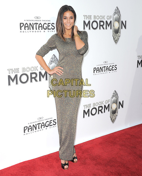 "Emmanuelle Chriqui.""The Book of Mormon"" Hollywood Opening night Held At The Pantages theatre, Hollywood, California, USA..September 12th, 2012.full length silver grey gray dress hand on hip arm .CAP/DVS.©DVS/Capital Pictures."