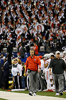 Ohio State Buckeyes head coach Urban Meyer walks the sideline during the fourth quarter of the Buckeyes' 27-21 win over the Badgers in the Big Ten championship football game at Lucas Oil Stadium in Indianapolis on Dec. 2, 2017. [Adam Cairns / Dispatch]