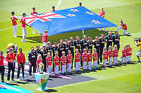 The Black Caps line up for the national anthem before the ICC Cricket World Cup one day pool match between the New Zealand Black Caps and England at Wellington Regional Stadium, Wellington, New Zealand on Friday, 20 February 2015. Photo: Dave Lintott / lintottphoto.co.nz