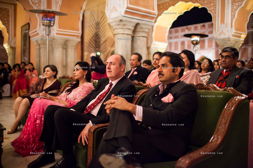 (Front row, from right) Maharaj Narendra Singh, Maharaj of Jaipur, Dr Lachlan Strahan, Australia's High Commissioner to India, and Princess Diya Kumari of the Jaipur Royal Family sit at the front row at a violin recital by Australian violinist Niki Vasilakis at the OzFest Gala Dinner in the Jaipur City Palace, in Rajasthan, India on 10 January 2013. Photo by Suzanne Lee