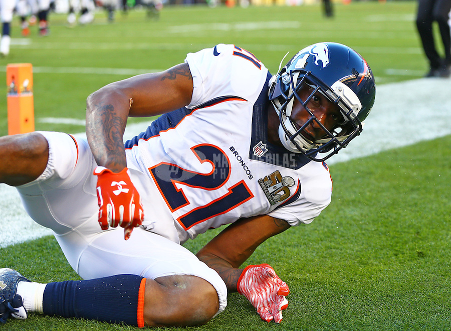 Feb 7, 2016; Santa Clara, CA, USA; Denver Broncos cornerback Aqib Talib (21) against the Carolina Panthers in Super Bowl 50 at Levi's Stadium. Mandatory Credit: Mark J. Rebilas-USA TODAY Sports