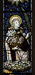 Mary Anne Garrett Memorial stained glass window  female martyrs 1897, Church of Saint Margaret, Leiston, Suffolk, England, UK, Saint Dorothea by C.E. Kempe ( 1837-1907)