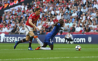 Chelsea's Tiemoue Bakayoko is brought down by Manchester United's Nemanja Matic but now penalty was awarded<br /> <br /> Photographer Rob Newell/CameraSport<br /> <br /> Emirates FA Cup Final - Chelsea v Manchester United - Saturday 19th May 2018 - Wembley Stadium - London<br />  <br /> World Copyright &copy; 2018 CameraSport. All rights reserved. 43 Linden Ave. Countesthorpe. Leicester. England. LE8 5PG - Tel: +44 (0) 116 277 4147 - admin@camerasport.com - www.camerasport.com