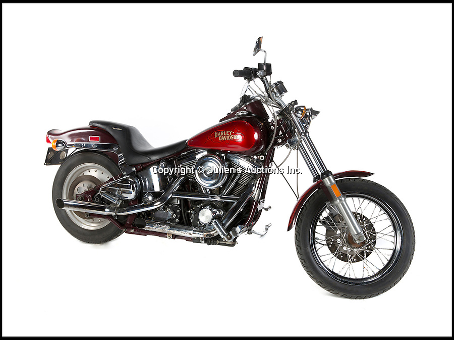 """BNPs.co.uk (01202 558833)<br /> Pic: JuliensAuctions/BNPS<br /> <br /> Swayze's personal 1986 Harley-Davidson Softail motorcycle, estimate £8,000.<br /> <br /> The iconic leather jacket worn by Patrick Swayze as he delivers the famous line """"Nobody puts Baby in a corner"""" is up for grabs.<br /> <br /> The notable piece of clothing from the 1987 classic Dirty Dancing has been given a conservative estimate of less than £5,000 but auctioneer Darren Julien says the """"Holy Grail"""" of Swayze memorabilia could fetch more than six times that.<br /> <br /> The surfboard from Point Break (1991) and Swayze's shirt from Ghost (1990) are also among the key lots being sold by his wife of 34 years, Lisa Niemi.<br /> <br /> The Hollywood items being sold by Julien's in Los Angeles, following the star's death from pancreatic cancer in 2009, offer film fans the chance to own a piece of pop culture history.<br /> <br /> The memorabilia will be sold in Los Angeles on April 28 and 29."""