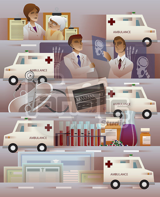 Montage of Ambulance and hospital