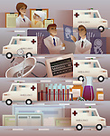 Montage of Ambulance and hospital