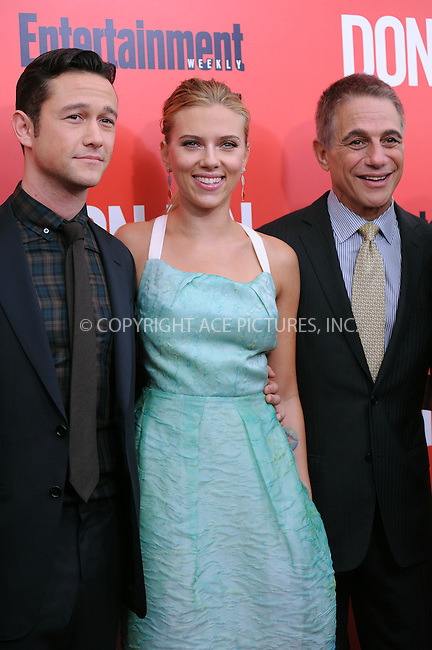 WWW.ACEPIXS.COM<br /> September 12, 2013...New York City<br /> <br /> Scarlett Johansson, Joseph Gordon-Levitt and Tony Danza attending 'Don Jon' New York Premiere at SVA Theater on September 12, 2013 in New York City.<br /> <br /> Please byline: Kristin Callahan/Ace Pictures<br /> <br /> Ace Pictures, Inc: ..tel: (212) 243 8787 or (646) 769 0430..e-mail: info@acepixs.com..web: http://www.acepixs.com