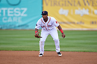 Salem Red Sox first baseman Jerry Downs (30) during the first game of a doubleheader against the Potomac Nationals on June 11, 2018 at Haley Toyota Field in Salem, Virginia.  Potomac defeated Salem 9-4.  (Mike Janes/Four Seam Images)