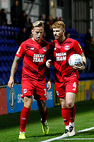 Dale Gorman of Leyton Orient and Jordan Maguire-Drew confer during the The Leasing.com Trophy match between AFC Wimbledon and Leyton Orient at the Cherry Red Records Stadium, Kingston, England on 8 October 2019. Photo by Carlton Myrie / PRiME Media Images.