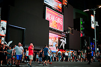 NEW YORK, NEW YORK - JULY 13: People make their way at the streets in Times Square during a major power outage on July 13, 2019 in New York City. New Yorkers are without power as a major outage left portions of Manhattan, including Times Square and the Upper West Side with disrupting subway service across the city. (Photo by VIEWPRESS)