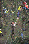 Walkways and treehouses. Road Protest actions around the M65 extension. This involved protecting and squatting a group of houses, and also squatting treehouses in the forest at  Stanworth Valley Preston Lancashire. 1995<br />