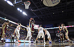 SIOUX FALLS, SD: MARCH 5: Ade Murkey #0 of Denver shoots over Skyler Flatten #1 of South Dakota State during the Summit League Basketball Championship on March 5, 2017 at the Denny Sanford Premier Center in Sioux Falls, SD. (Photo by Dick Carlson/Inertia)