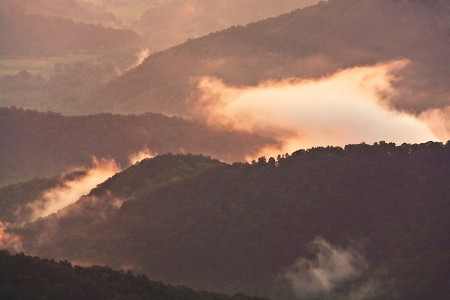 Evening view after storm, as viewed from Craggy Gardens, Blue Ridge Parkway, North Carolina